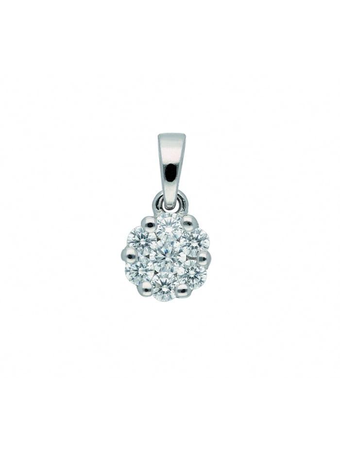 1001 Diamonds Damen Silberschmuck 925 Silber Anhänger mit Zirkonia Ø 6,7 mm, silber