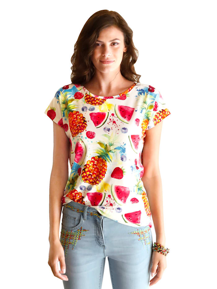AMY VERMONT Shirt met print rondom, Offwhite/Rood/Pink