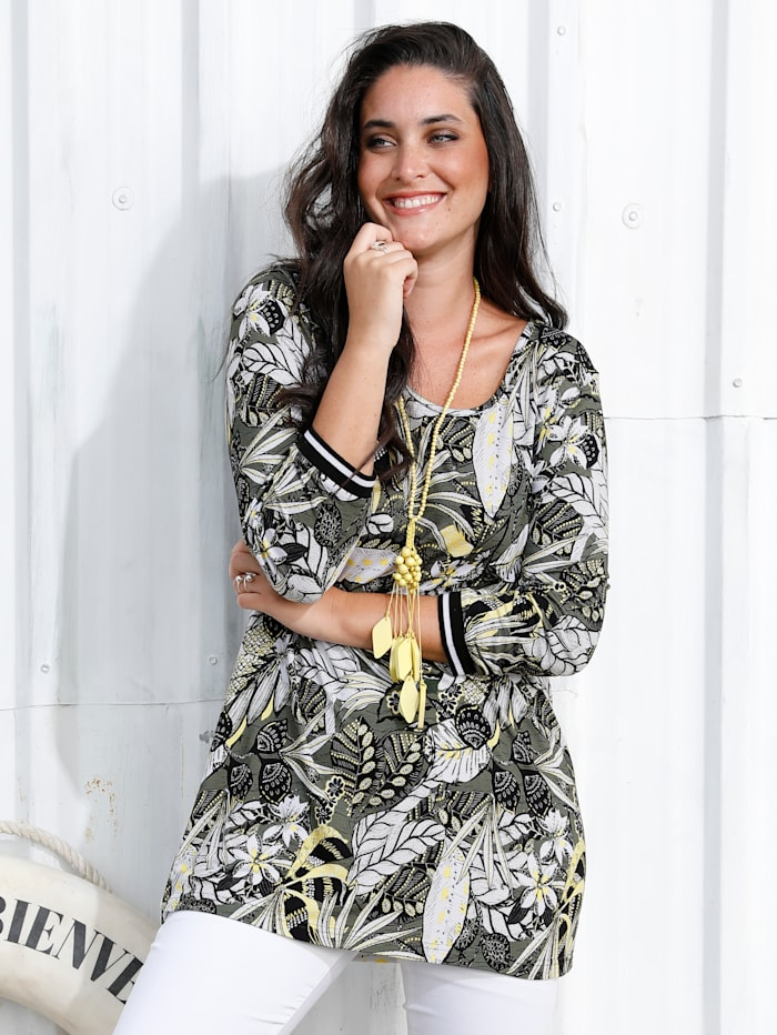 MIAMODA Shirt mit Rippbündchen am Ärmelabschluss, Khaki/Gelb