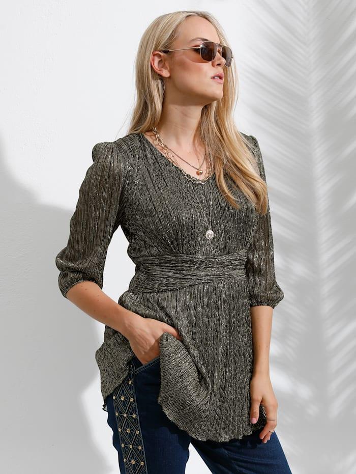 MIAMODA T-shirt long en matière plissée scintillante, Coloris or