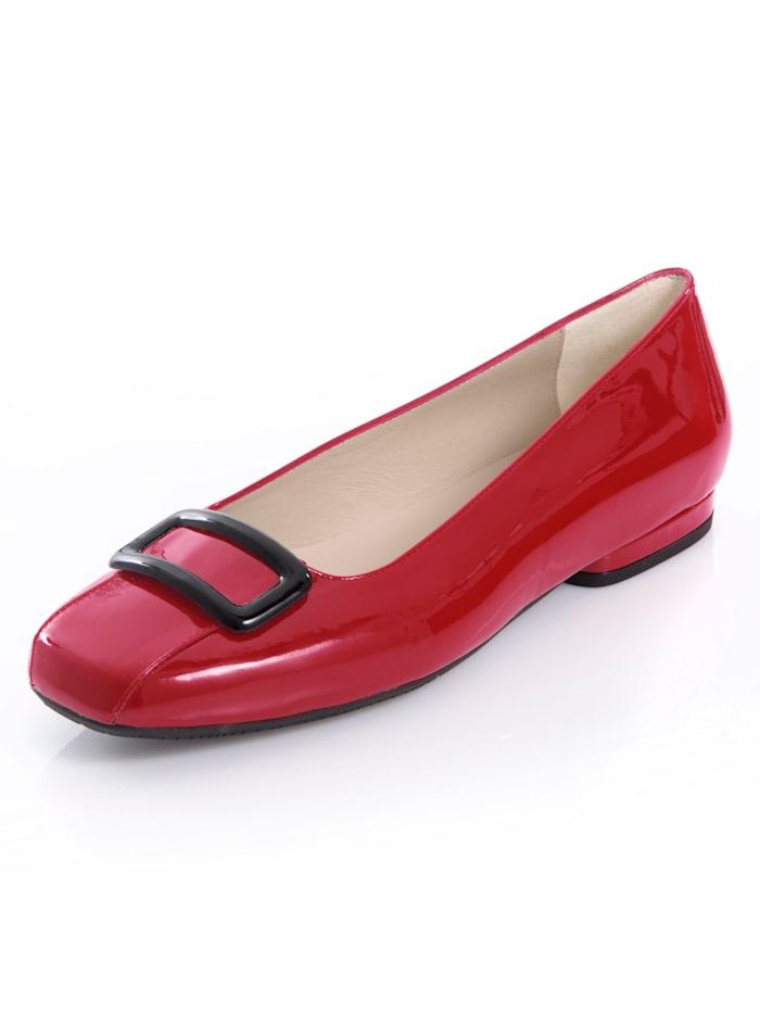 Alba Moda Ballerina aus Rindsleder, Rot