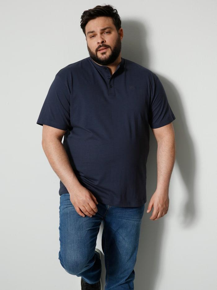 Men Plus Henleyshirt, Marineblau