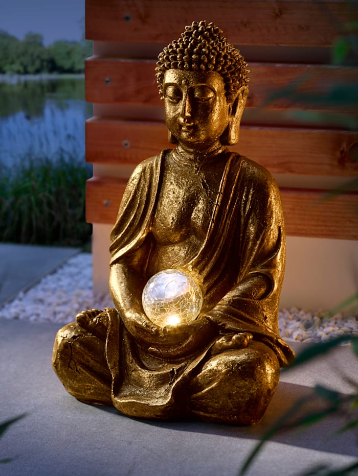 Näve Deko Buddha mit Solarlicht in einer Kugel, Goldfarben