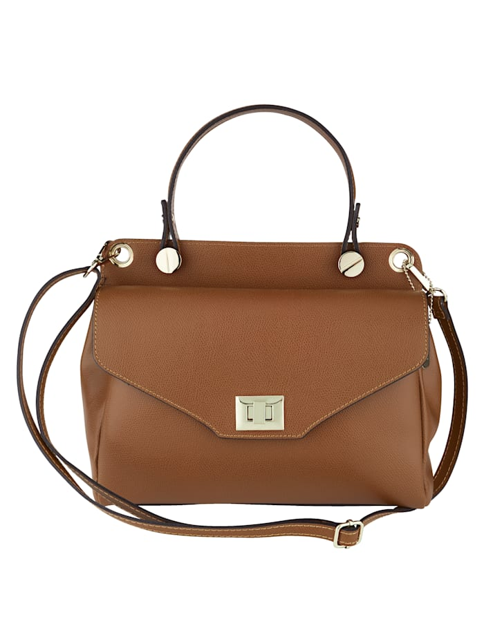 MONA Handbag made from premium leather, Cognac