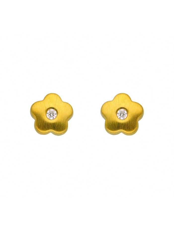 1001 Diamonds Damen Goldschmuck 333 Gold Ohrringe / Ohrstecker Blüte mit Zirkonia, gold