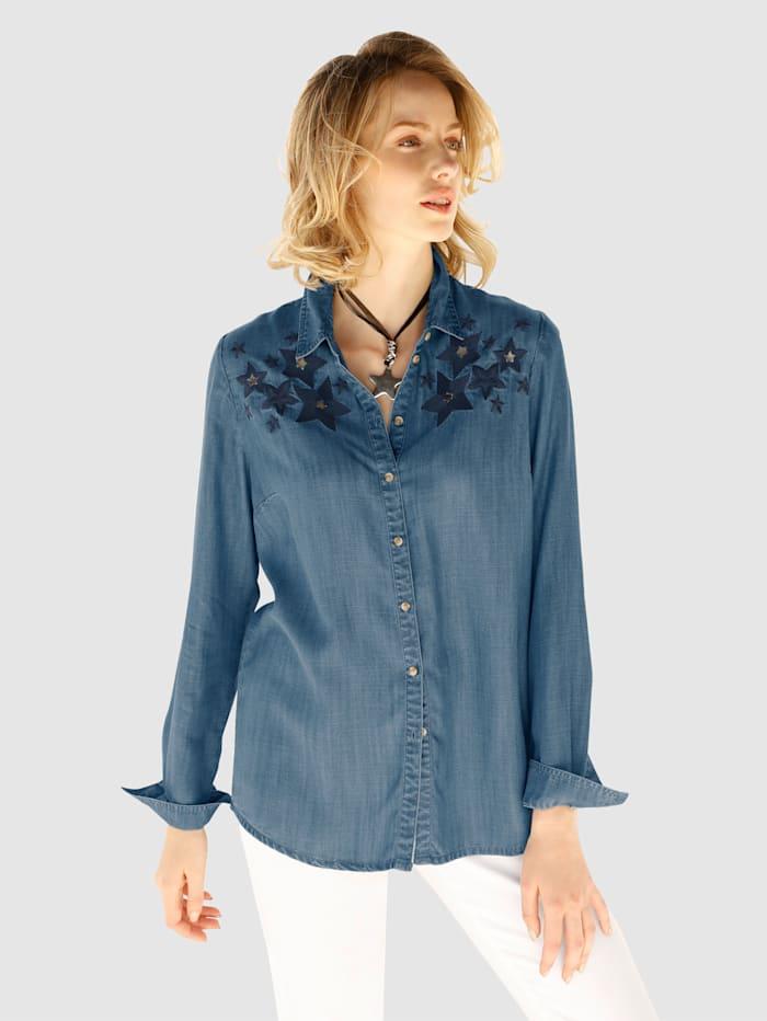 AMY VERMONT Bluse mit Sternen-Stickerei, Blau