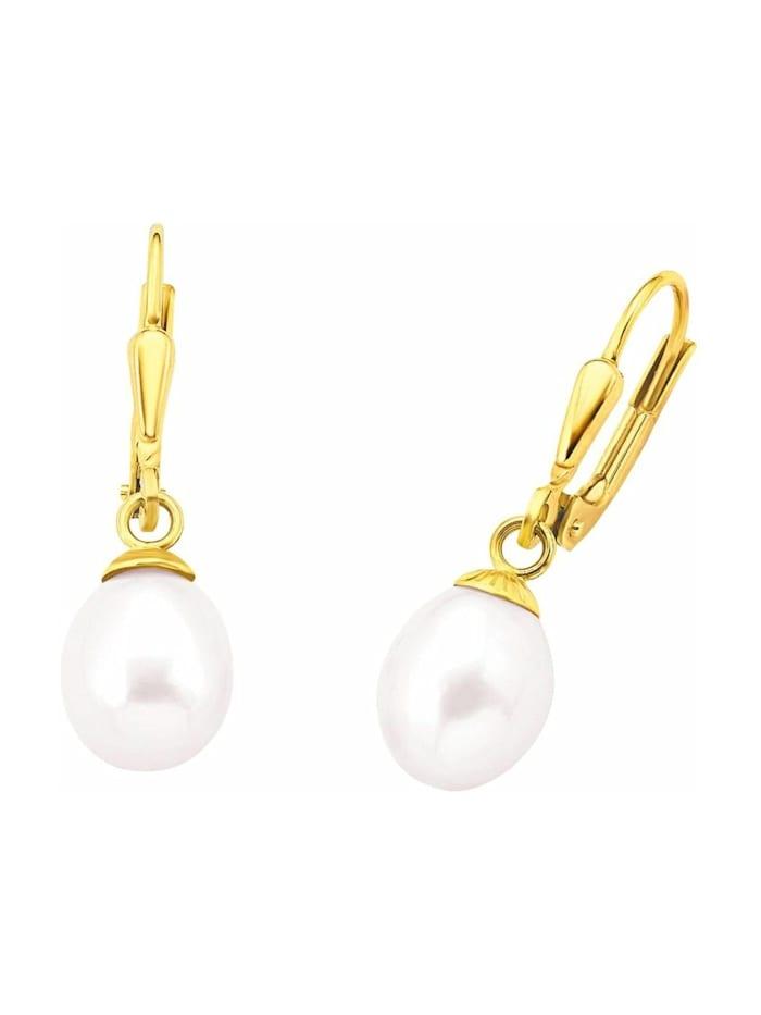 amor Ohrhänger für Damen, Gold 375, Süßwasserzuchtperle, Gold