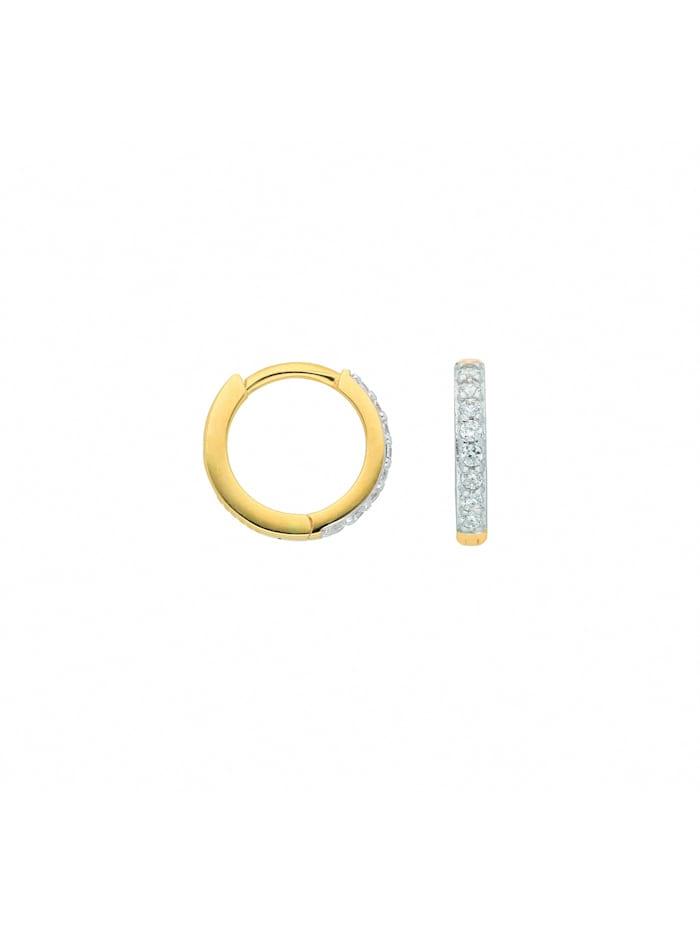 1001 Diamonds Damen Goldschmuck 585 Gold Ohrringe / Creolen mit Zirkonia Ø 11,6 mm, gold