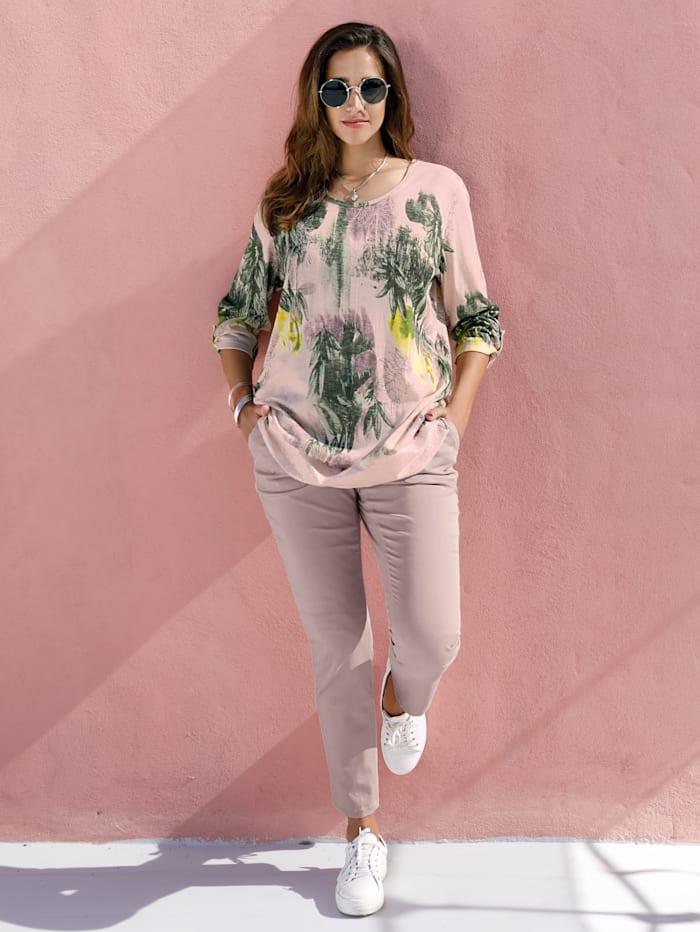 MIAMODA Pullover mit floralem Muster, Rosé/Grün