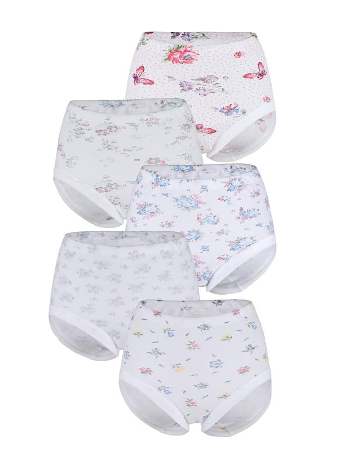Harmony Tailleslips met 5 verschillende prints, Wit/Roze/Lichtblauw/Groen
