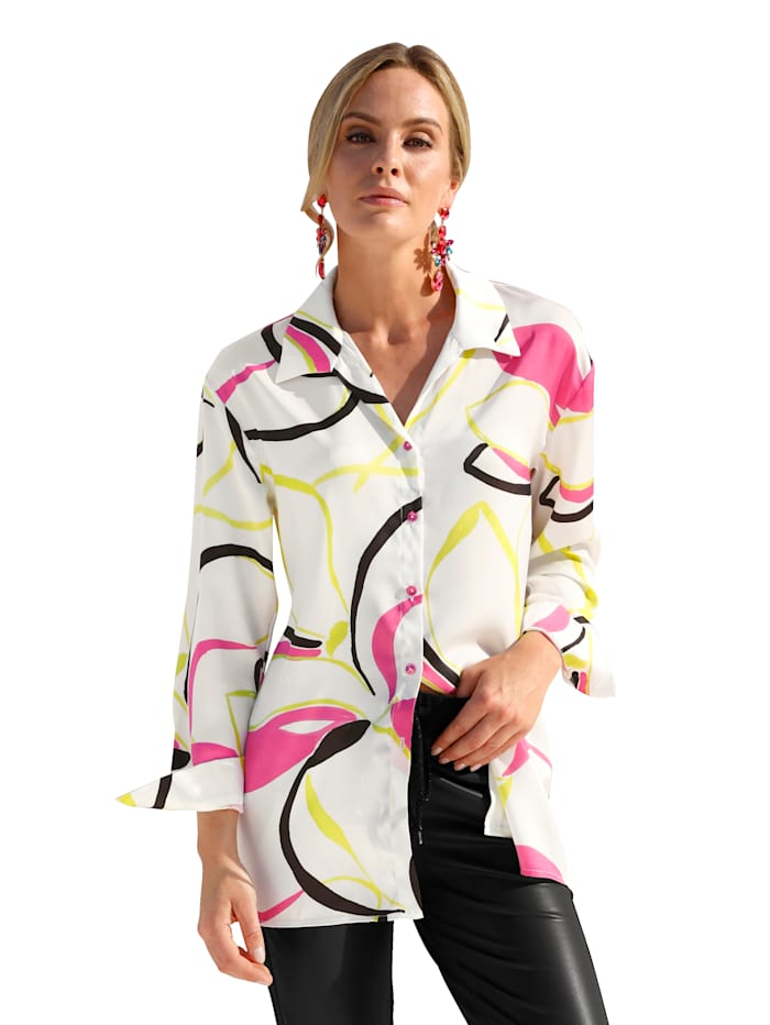 AMY VERMONT Blouse met neonprint, Wit/Pink