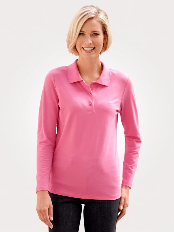 MONA Poloshirt van piquémateriaal, Roze