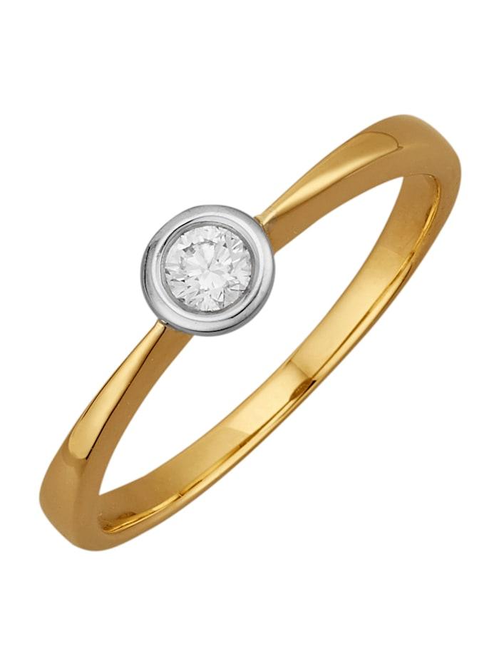 Diemer Diamant Damenring mit 1 Brillant, Gelbgoldfarben