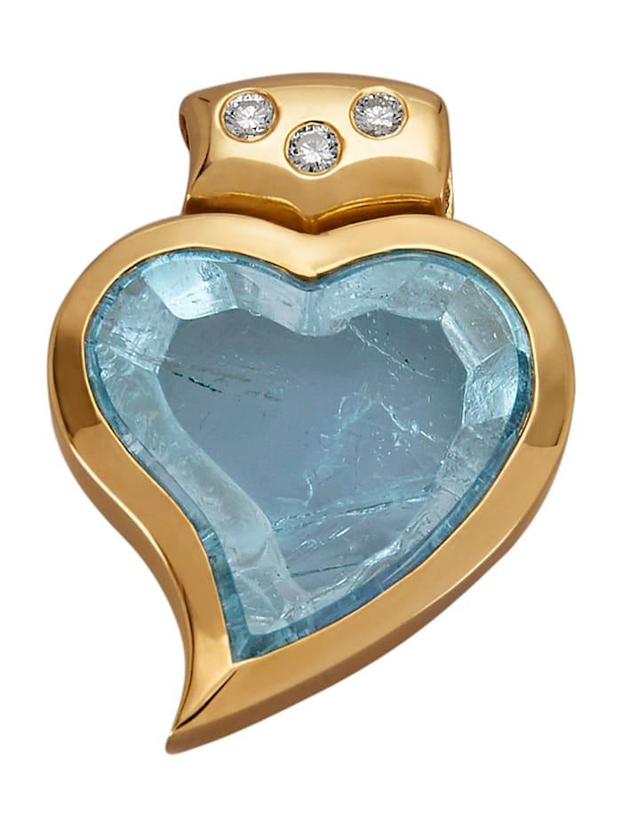 Amara Farbstein Herz-Anhänger in Herzform, Blau