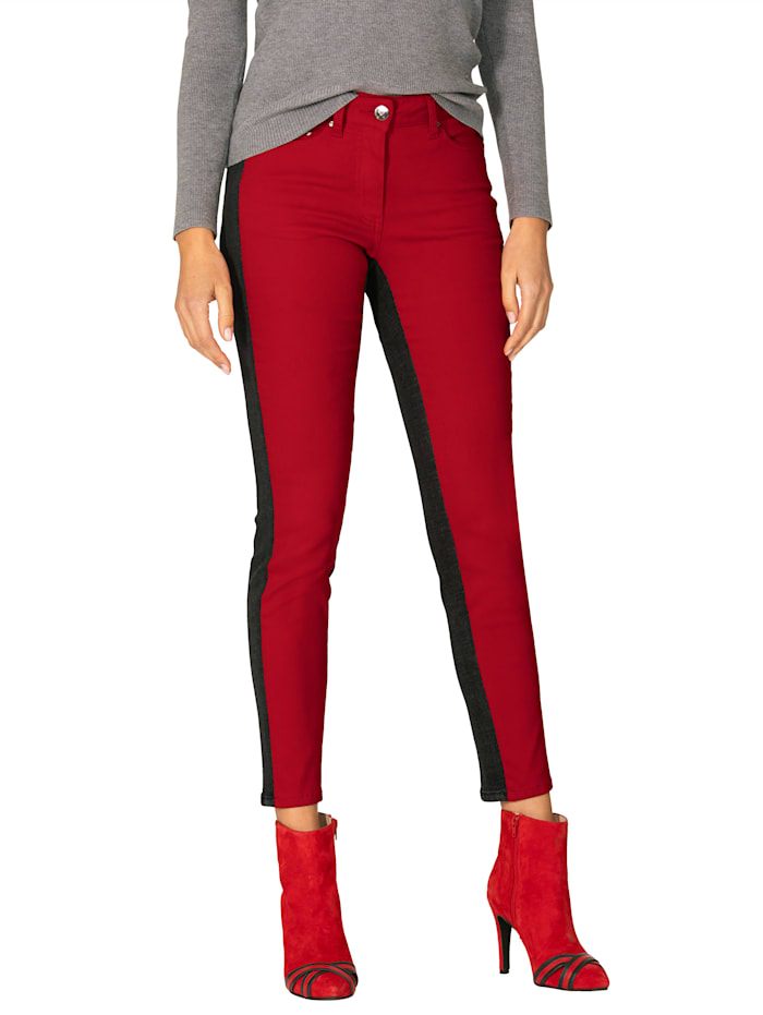 AMY VERMONT Jeans in patchworklook, Antraciet/Rood