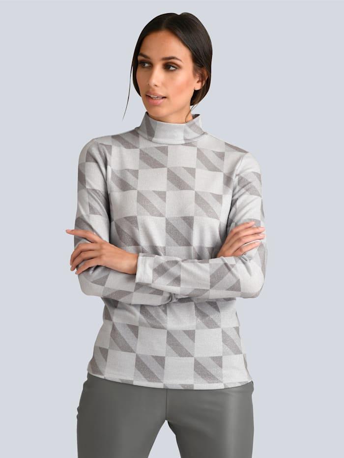 Alba Moda Rollkragen-Shirt mit silberfarbenem Lurex gearbeitet, Grau/Hellgrau