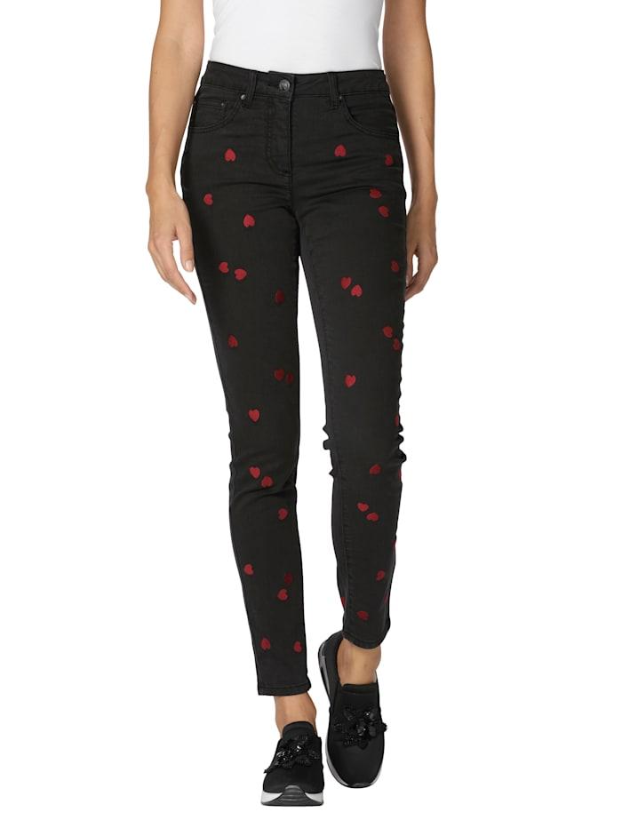 AMY VERMONT Jeans mit Herzchen-Print, Schwarz
