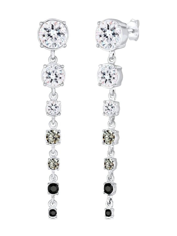 Elli Premium Ohrringe Edel Ohrhänger Kristalle 925 Silber, Grau