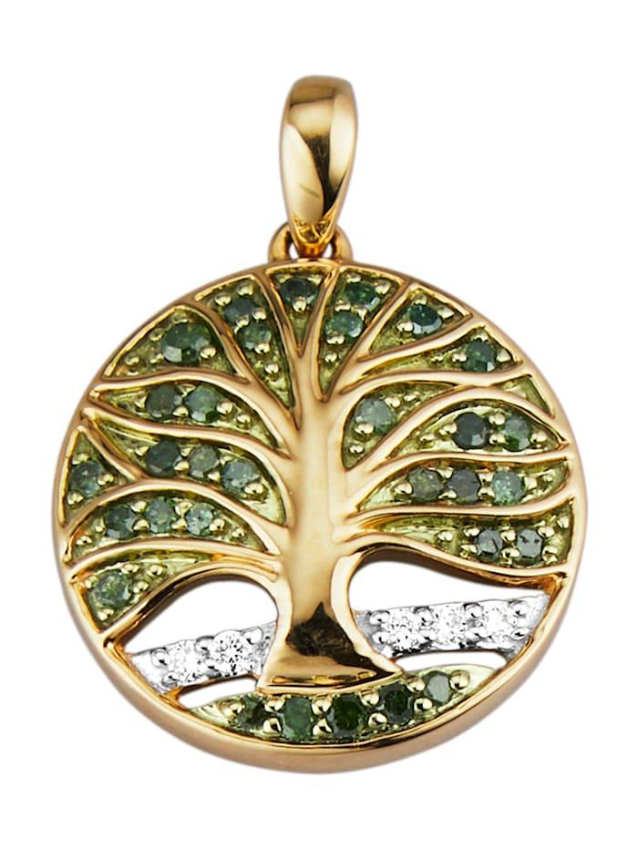 Diemer Diamant Lebensbaum-Anhänger mit Diamant und Brillant, Gelbgoldfarben
