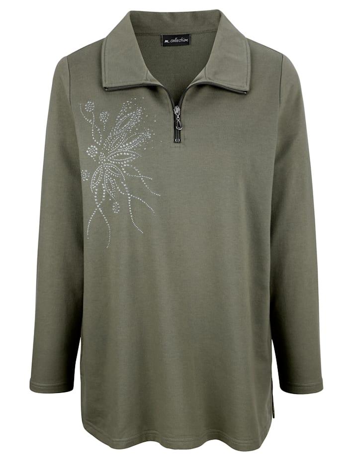 m. collection Sweatshirt mit funkelnden Steinchen und Nieten, Oliv