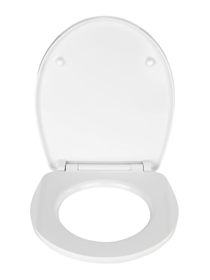 Premium WC-Sitz Hochglanz Acryl White, aus antibakteriellem Duroplast, Absenkautomatik, Fix-Clip