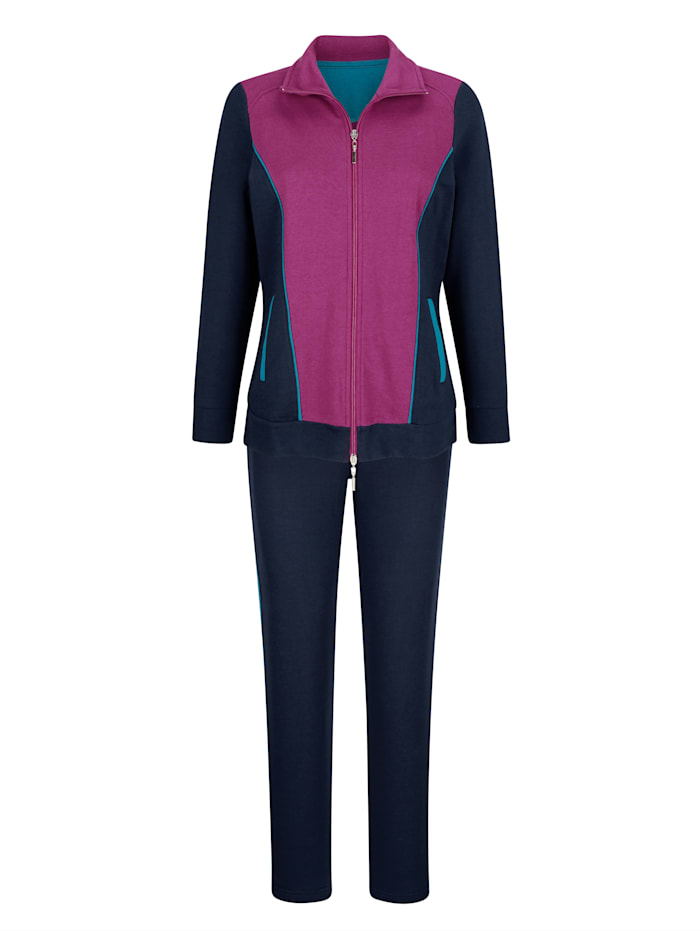 Harmony Joggingpak met tweewegritssluiting, Marine/Fuchsia/Turquoise