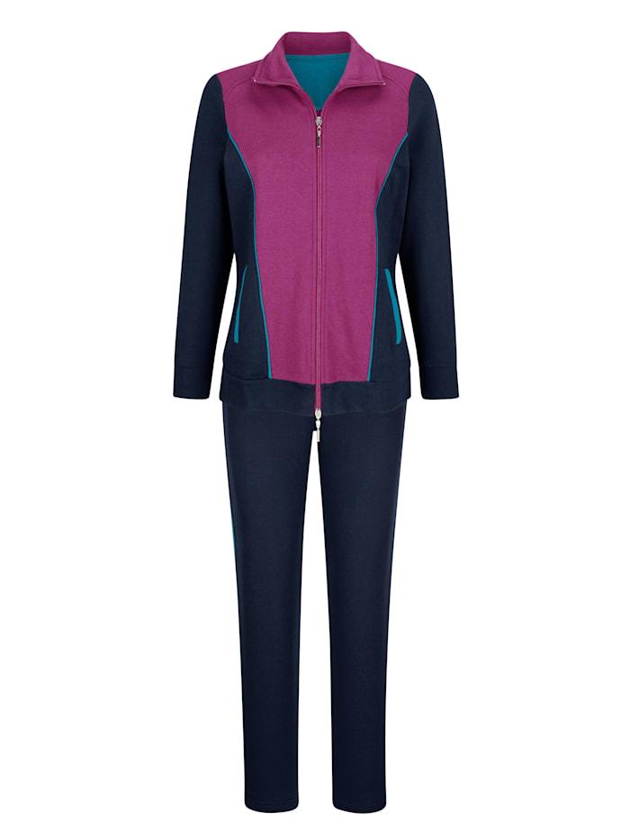 Harmony Tenue de loisirs avec glissière double sens sur la veste, Marine/Fuchsia/Turquoise