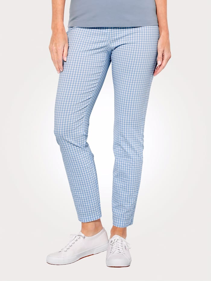 MONA Pull-on trousers in a check pattern, Light Blue/White