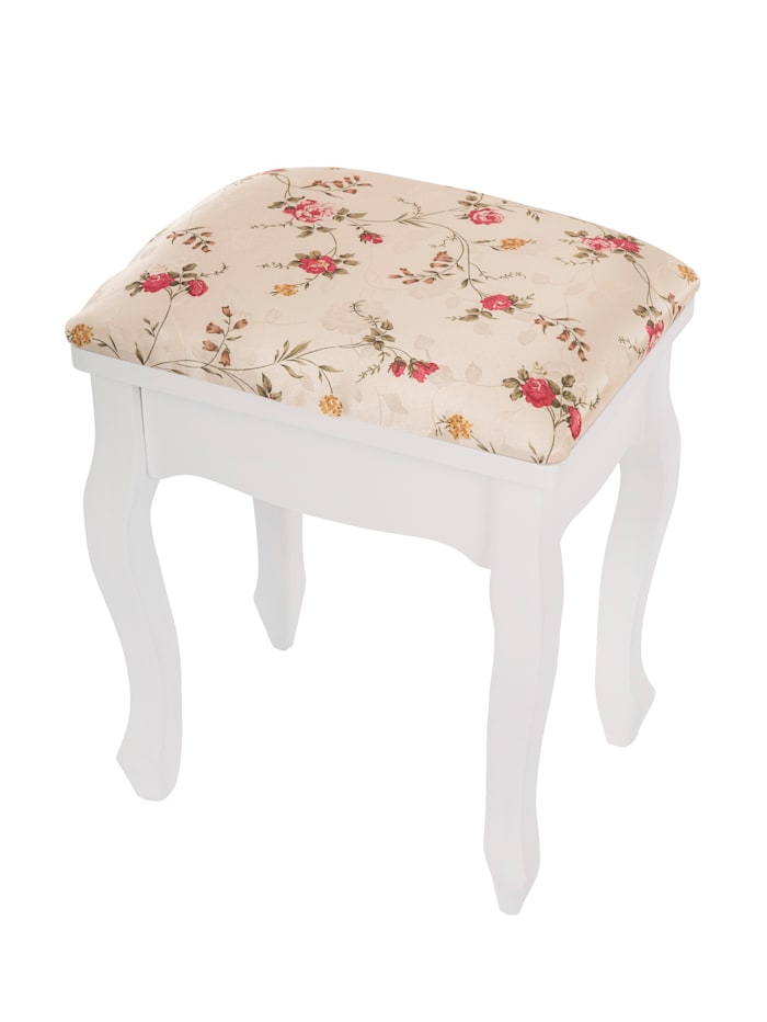 TopHome Tabouret 'Roses', Blanc