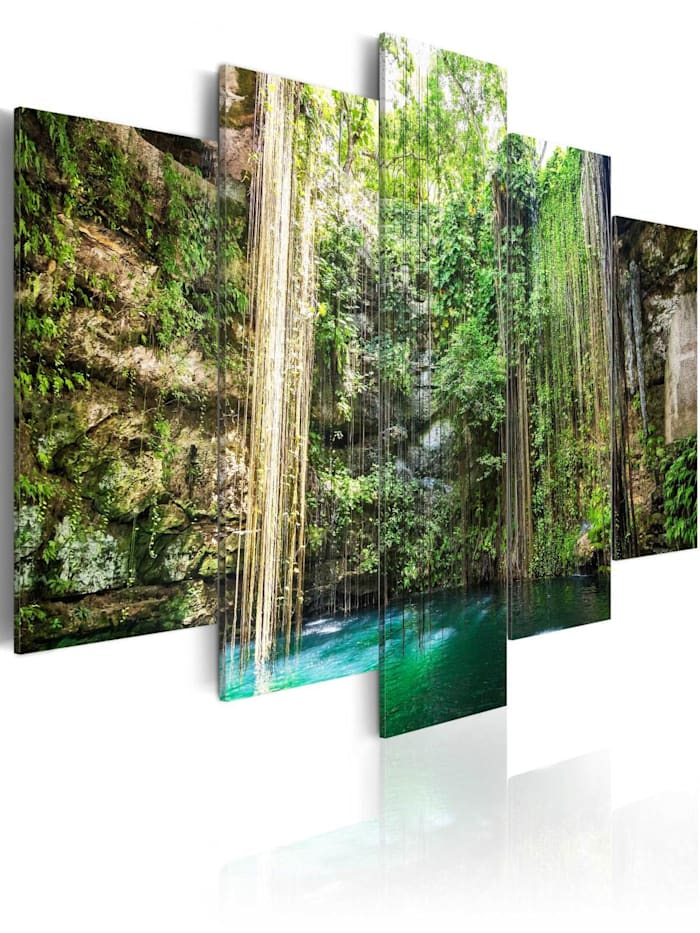 artgeist Wandbild Waterfall of Trees, Blau,Braun,Grün