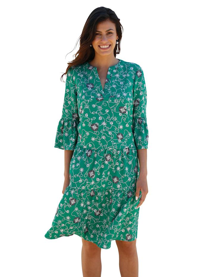 AMY VERMONT Kleid mit grafischem Muster allover, Grün/Weiß
