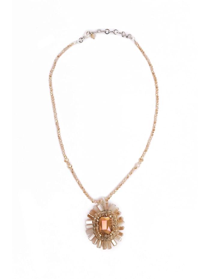 Collezione Alessandro Kurze Luxus Kette Farah geschliffene Glasperlen, beige