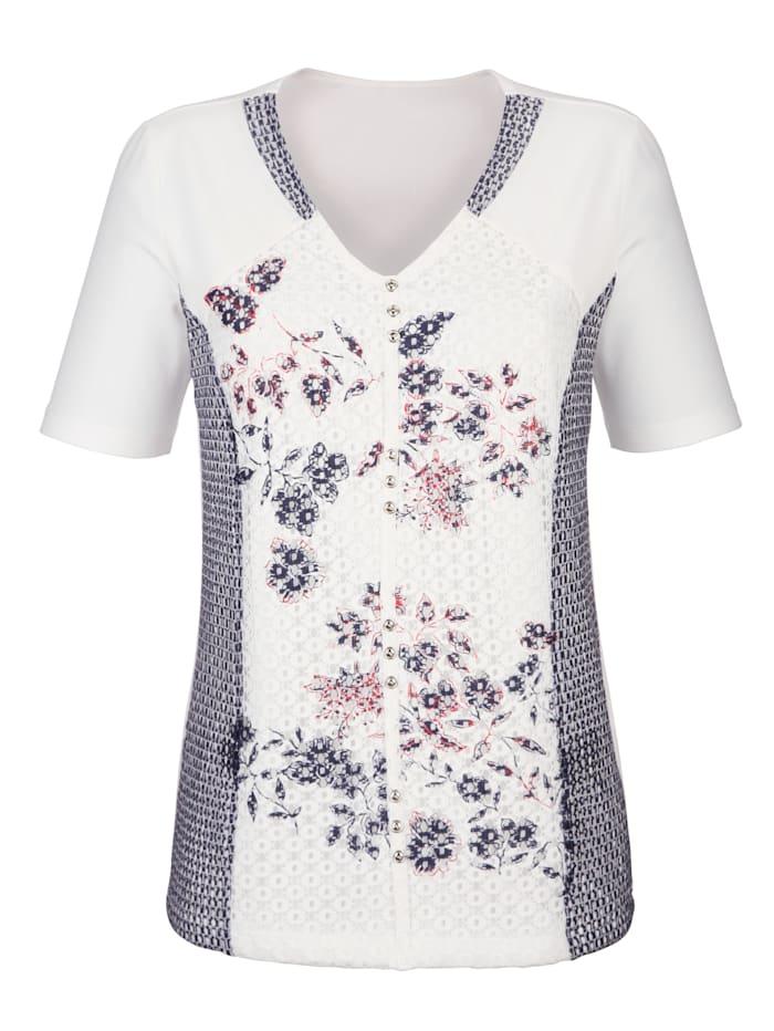 Tričko s čipkovými vsadkami s potlačou