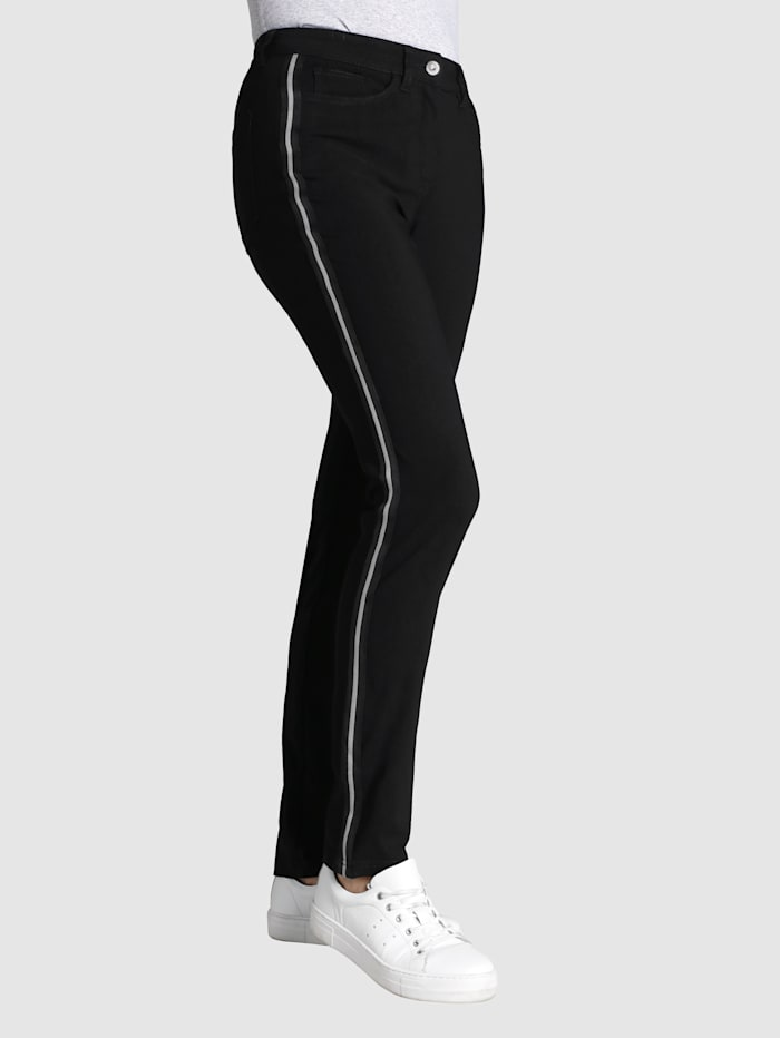 Dress In Trousers with fashionable side stripe, Black