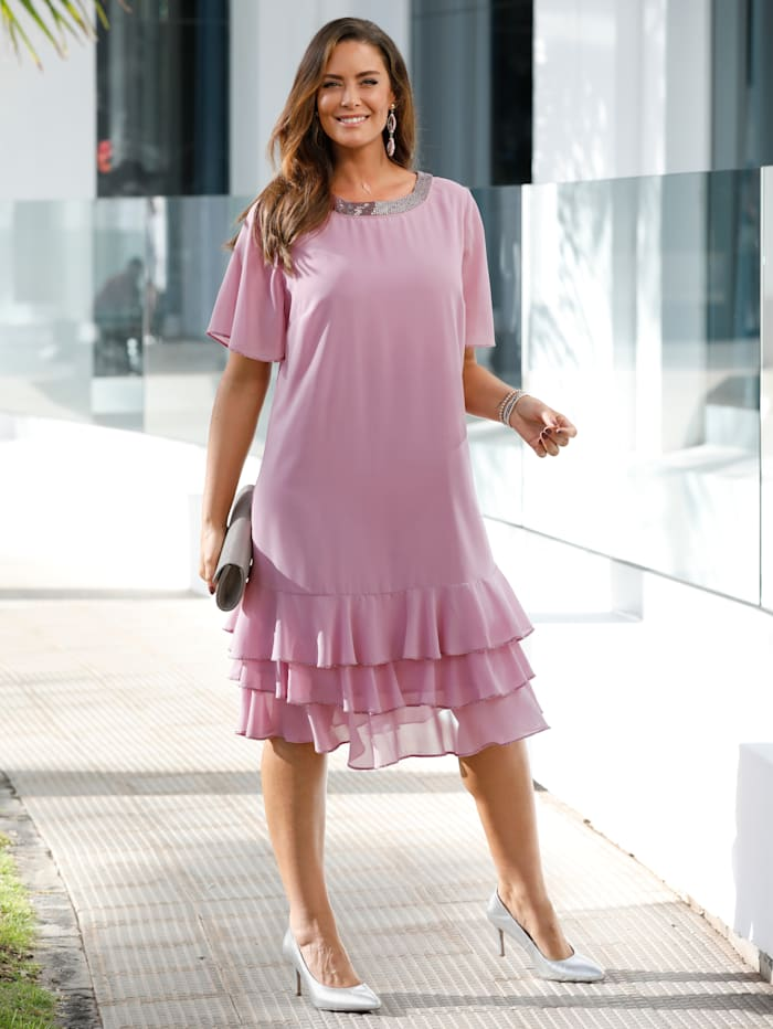 MIAMODA Robe de cocktail avec perles fantaisie, Rose