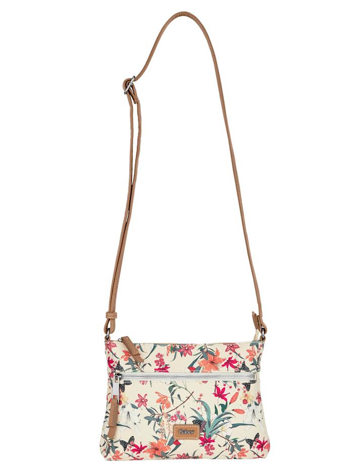 Gabor Shoulder bag with a gorgeous floral print, Oat/Floral