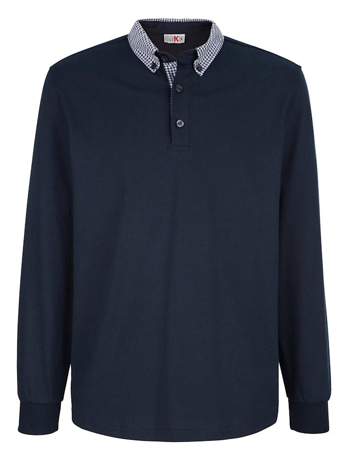 Roger Kent Poloshirt mit Webbesatz am kragen, Marineblau