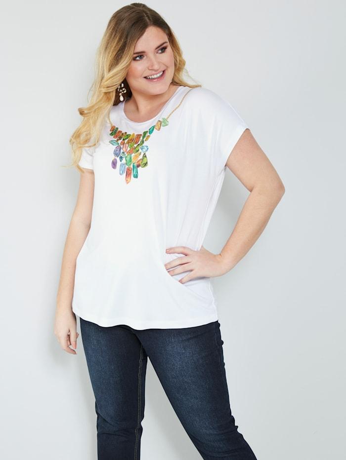 Sara Lindholm Shirt mit glitzernden Strasssteinen, Weiß/Grün