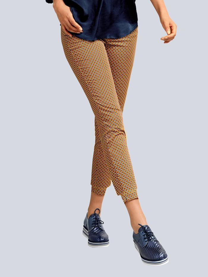 Alba Moda Hose mit Minimal-Dessin, Gelb/Marineblau