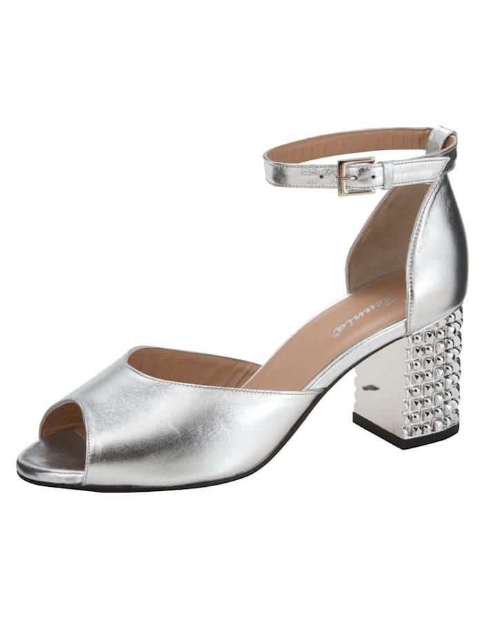 Gennia Sandale aus hochwertigem Ziegenperlatoleder, Silberfarben