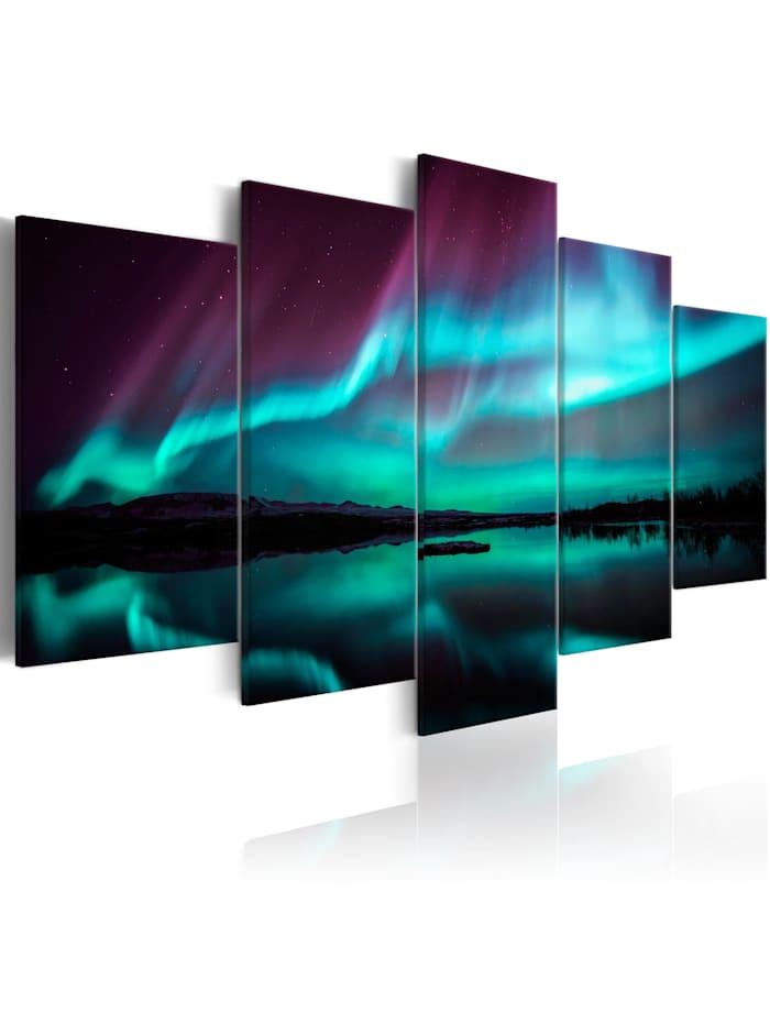 artgeist Wandbild Night Light II, Schwarz,Blau,Grün,rosa