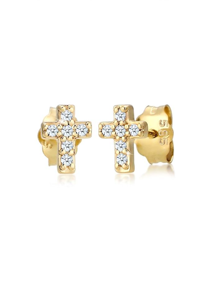 DIAMORE Ohrringe Kreuz Religion Diamant (0.06 Ct) 585Er Gelbgold, Gold