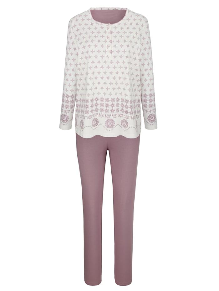 Harmony Schlafanzug mit dekorativer Zackenlitze, Ecru/Rosenholz