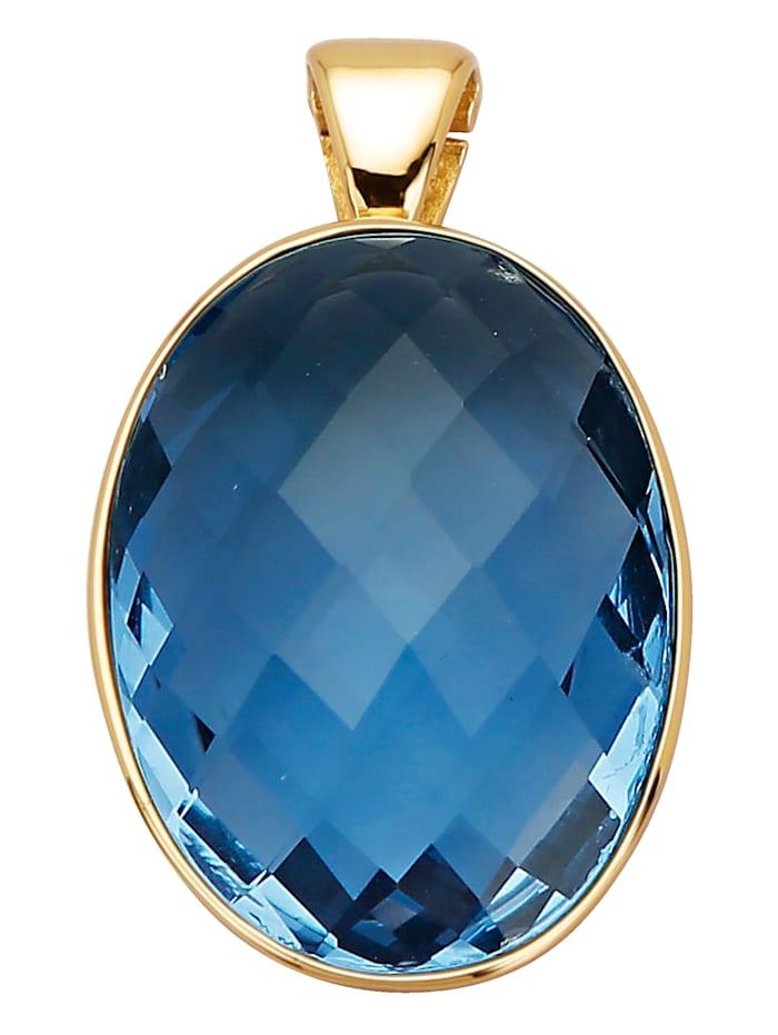 Diemer Farbstein Clip-Anhänger mit Fluorit, Blau