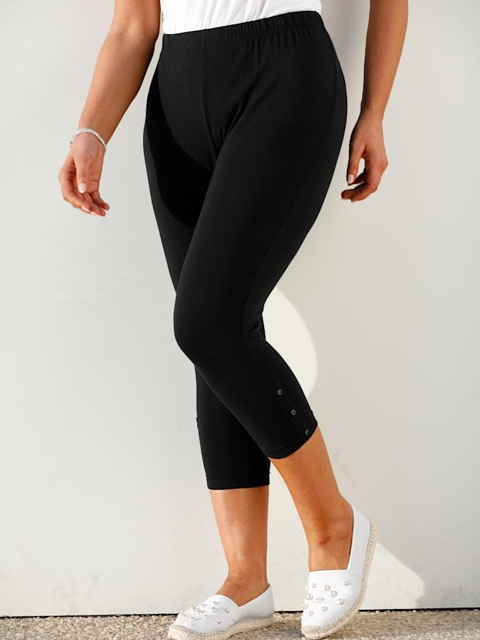 MIAMODA 7/8-legging met sierknoopjes, Zwart