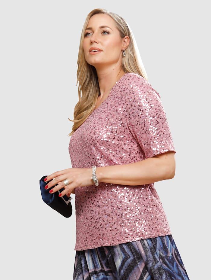 MIAMODA T-shirt avec sequins brodés, Rose