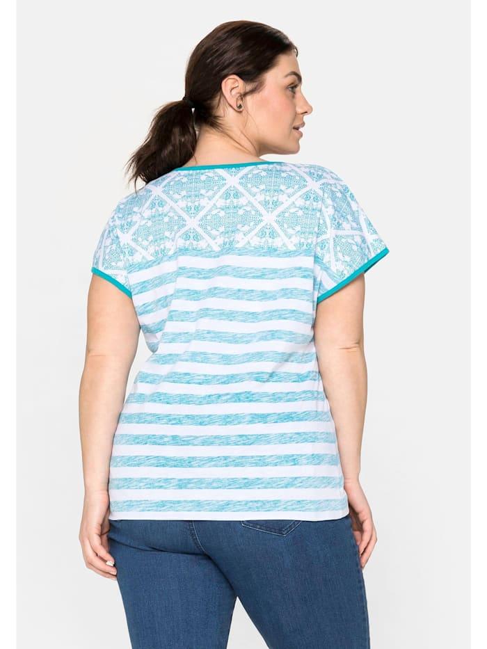T-Shirt im Mustermix, mit Rundhalsausschnitt