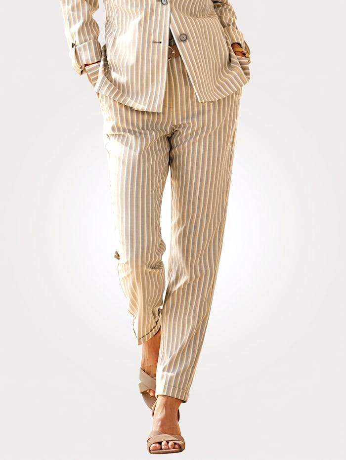 MONA Pantalon à rayures tissées de qualité, Taupe/Écru/Coloris or