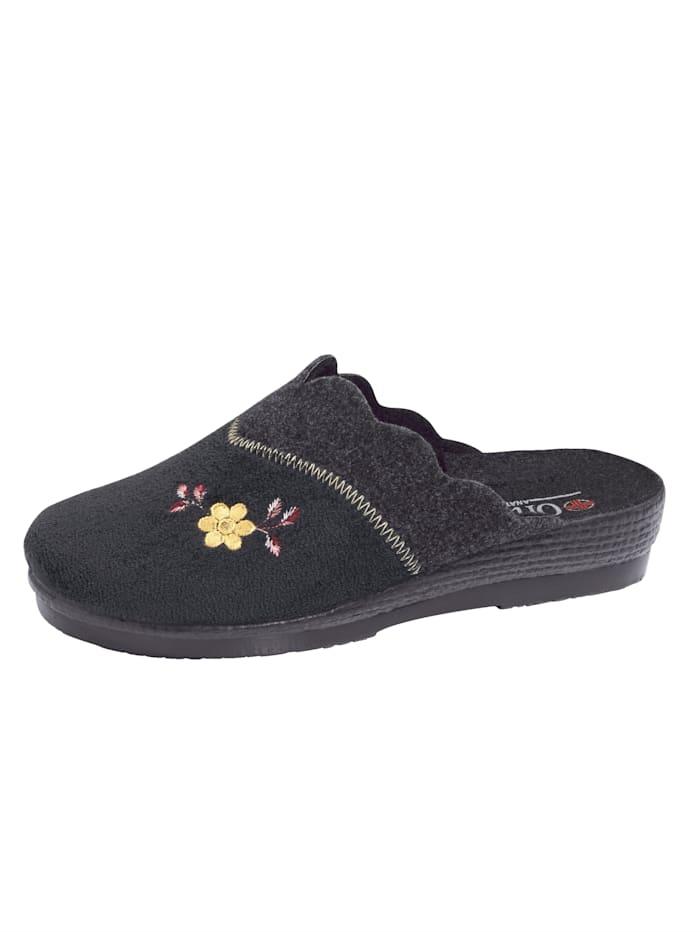 Belafit Hausschuh mit filigraner Blütenapplikation, Schwarz