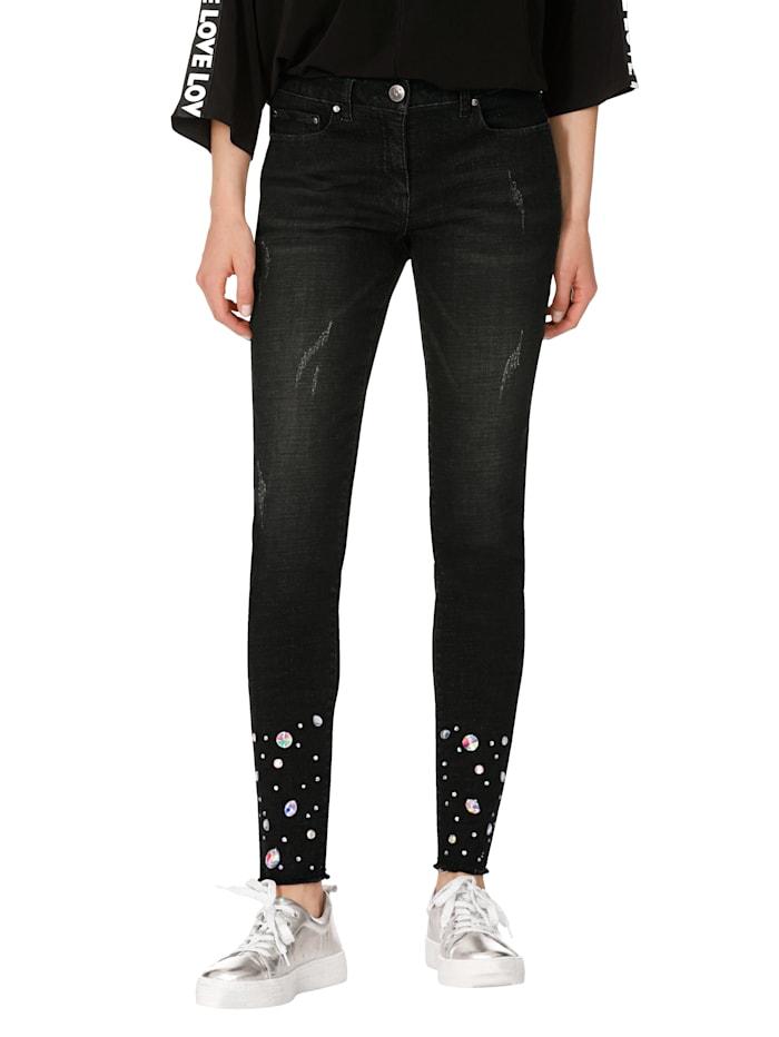 AMY VERMONT Jeans met strassteentjes, Black